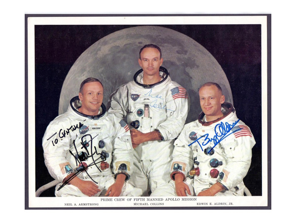 NASA colour photograph of the Apollo 11 crew, genuinely signed by Neil Armstrong, Mike Collins and Buzz Aldrin. Photo: Martello Philatelic Auctions