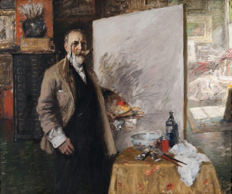 William Merritt Chase, « Self-Portrait in 4th Avenue Studio », 1915-16, image ©Richmond Art Museum