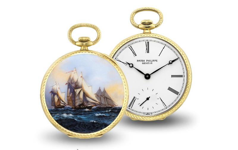 """Fickur, Patek Philippe, med miniatyr av """"Boat races at sea"""" av G. Menni. Bild från Christie's."""