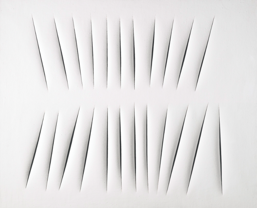 "LUCIO FONTANA ""CONCETTO SPAZIALE, ATTESE"" 1965. Low estimate: 7 580 000 USD. Sotheby's"