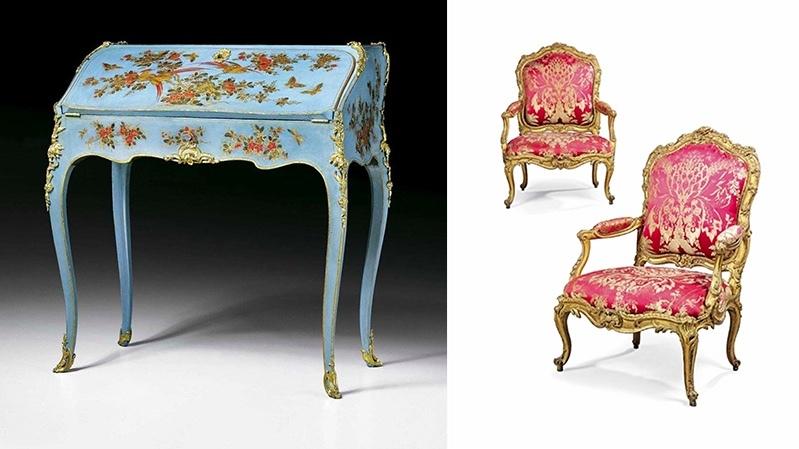 Gauche : B. II van Risenburgh, bureau «en vernis Martin» vernis, 1750-1755, image ©Koller / Droite : N. Heurtaut, fauteuils «à la Reine », 1755-1760, image ©Christie's