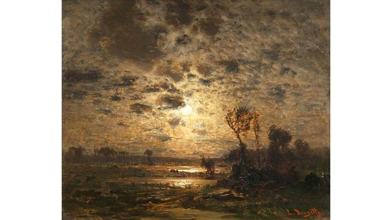LOUIS DOUZETTE (1834 Trisees - 1924 Berlin) - Mondscheinlandschaft, Öl/Holz, signiert
