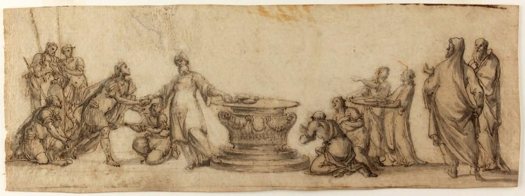 JACOPO CONFORTINI (1602 Florenz - 1672) attr. - Allegorie der Eucharistie, Tinte und Wasserfarbe/Papier, 126x359 mm Preis: 800 EUR