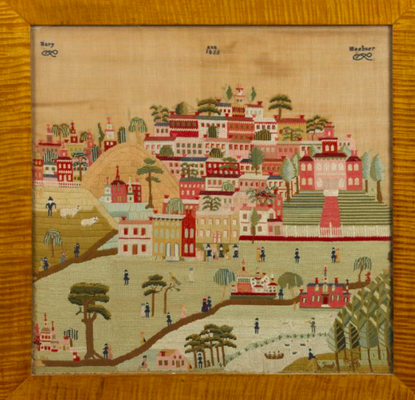 Montgomery County, PA Schwenkfelder wool townscape, dated 1855 and wrought by Mary Ann Heebner.