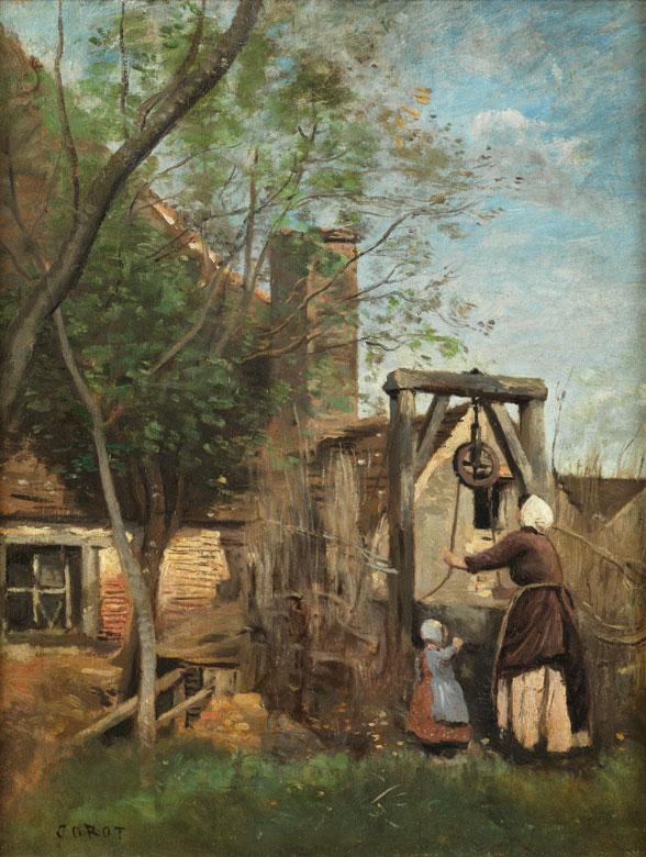 CAMILLE JEAN-BAPTISTE COROT (1796 Paris 1875) - Le puits, Öl/Lwd., signiert