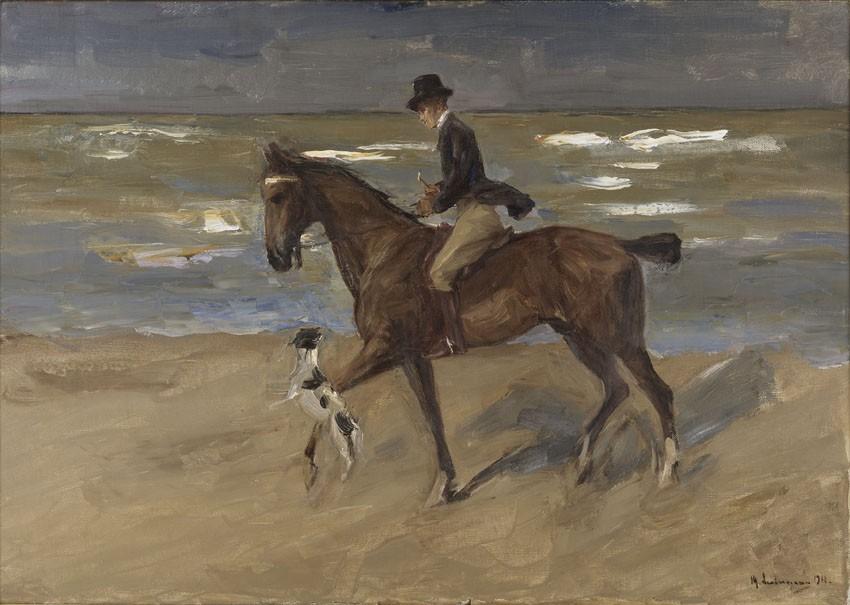 MAX LIEBERMANN - Reiter am Strand mit Foxterrier, 1911, Öl/Lwd., 70 x 100 cm, Nationalmuseum Stockholm Abb. via kunsthale-bremen.de