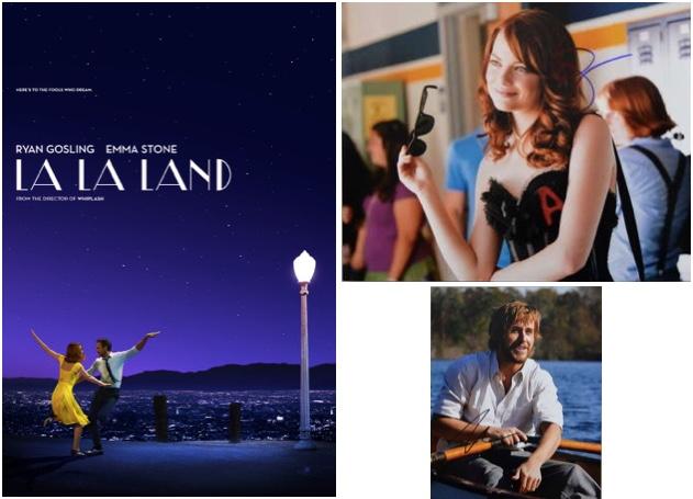 """Links: Filmplakat zu """"La La Land"""", 2016 Abb. via imdb.com Rechts: Signierte Fotos von Emma Stone (in """"Einfach zu haben"""", 2010) und Ryan Gosling (in """"Wie ein einziger Tag"""", 2004) Ewbank's"""