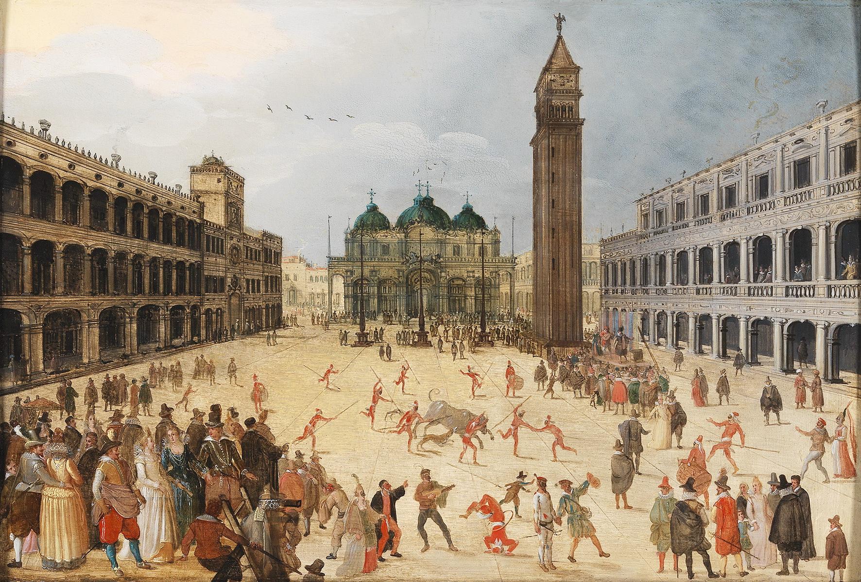 SEBASTIAEN VRANX (1573 Antwerpen 1647) - Karnevalsszene auf dem Markusplatz in Venedig, Öl/Lwd.