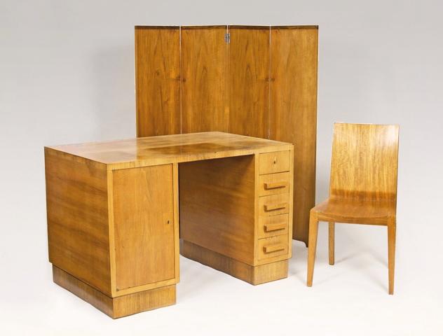 Jean-Michel Frank (1895 Paris - 1941 New York), Schreibtisch, Paravent und Stuhl, Paris 1925 - 1935 | Foto: Stahl