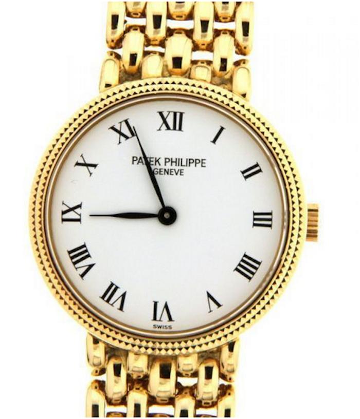 Damur Patek Philippe, Calatrava 4809, i gult guld. Auktionen avslutas 18 december 20.00. Utrop: 111.000 SEK