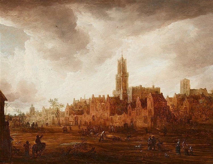 FRANS DE MOMPER (1603 Antwerpen 1660) zugeschrieben) - Ansicht von Antwerpen, Öl/Holz