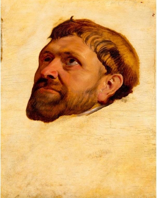 Maître d'Anvers, étude pour le tableau«Tête de moine regardant vers le haut», peinture sur panneau, ca. 1610-15, image ©Koller