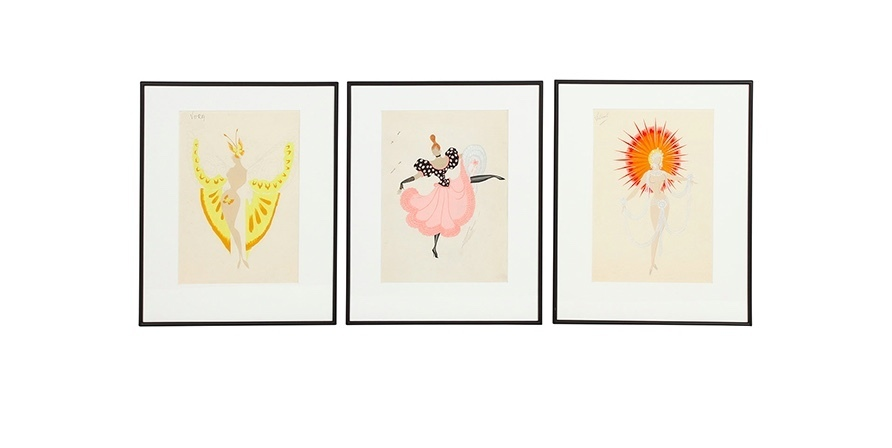 Erté, Three Costume Designs for the show 'CanCan', 1959-60. Photo: Eppli