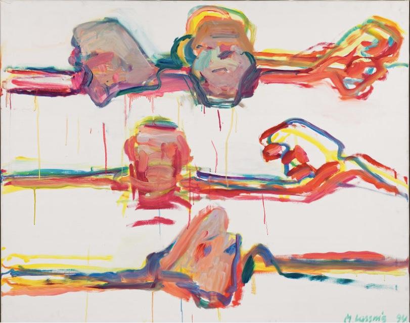 MARIA LASSNIG (Kappel am Krappfeld/Kärnten 1919 - 2014 Wien) - o.T. (aus der Serie: Malflüsse), Öl/Lwd., 100x125 cm, signiert und datiert, 1994-96 Schätzpreis: 150.000-300.000 EUR