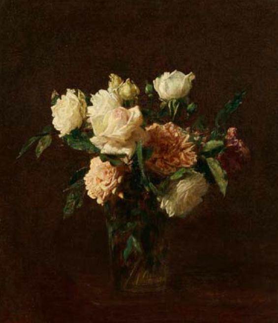 Henri FANTIN-LATOUR (1836-1904)  Roses, 1891 Huile sur toile ; signée et datée. Adjudication frais compris : 502 905 €  OVV MILLON Mercredi 25 mars 2015
