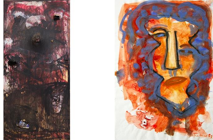 ADOLF FROHNER (1934 Großinzersdorf - 2007 Wien) Links: Die vielen Wunden, Materialbild mit Matratzenhaar, betitelt, 1963 Rechts: Kopf, Aquarell u. Gouache/Papier, signiert und datiert, 1999