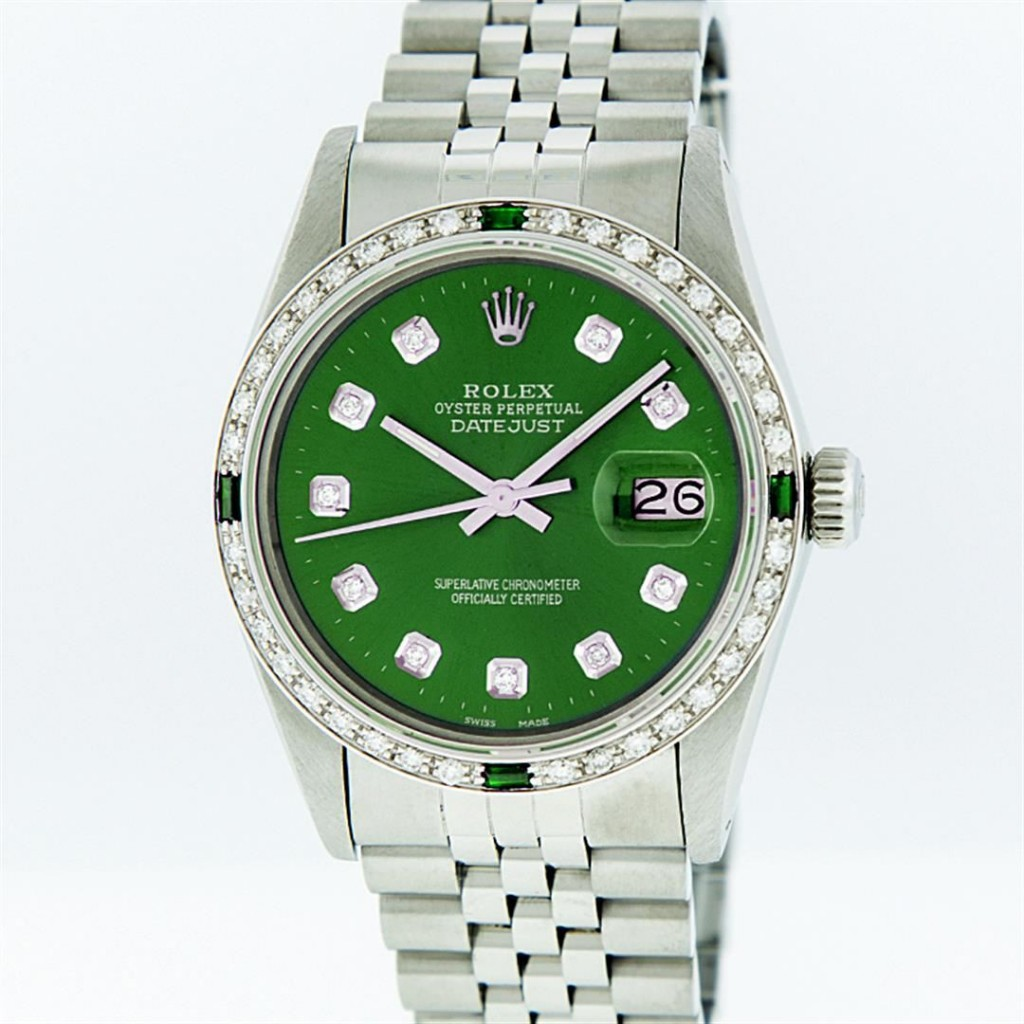Rolex Stainless Steel Green Diamond and Emerald DateJust Men's WatchAuction begins on January 22
