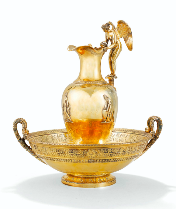 Bedeutende vergoldete Wasserkanne mit Becken von Jean-Baptiste Claude Odiot, Paris 1798-1809