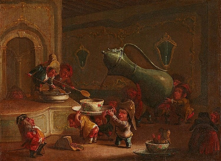 Faustino Bocchi, attributed to, Dwarves Drinking Coffee