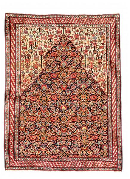 Senneh Gebetskelim, Wolle, 160 x 120 cm, Persien, Mitte 19. Jhdt Schätzpreis: 25.000 - 35.000 EUR