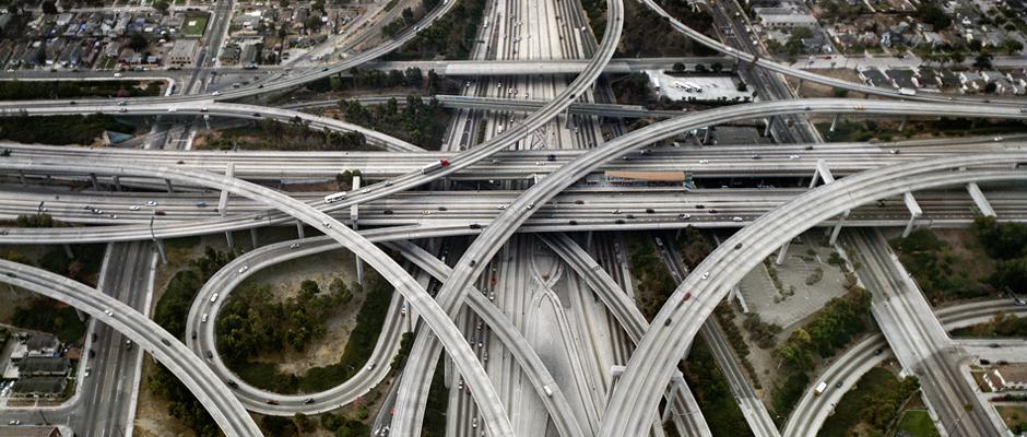 Edward Burtynsky, Highway #1, Intersection 105 & 110, Los Angeles, California, USA, 2003. Photo: Flowers Gallery