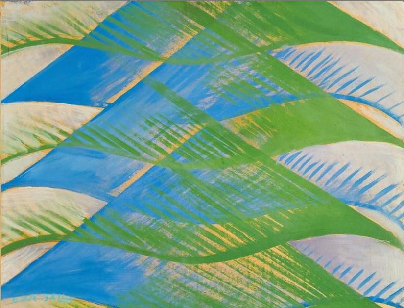Giacomo Balla (Turin 1871–1958 Rome) Spessori di Spazio + Linee andamentali - Motivo per stoffa, 1913 ca., signé Futur Balla, inscrit Motivo per stoffa (vestito del Manifesto 'Vestito antineutrale') au dos