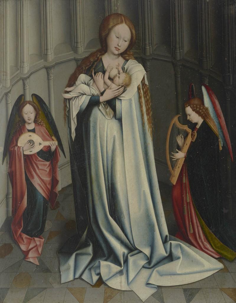 Kat.-Nr. 250 ROBERT CAMPIN (1378 o. 1379 – 1445) Nachfolge - Maria mit dem Kind und musizierenden Engeln in einer Apsis, Öl/Holz, 54,6 × 42,8 cm Schätzpreis: 30.000-40.000 EUR
