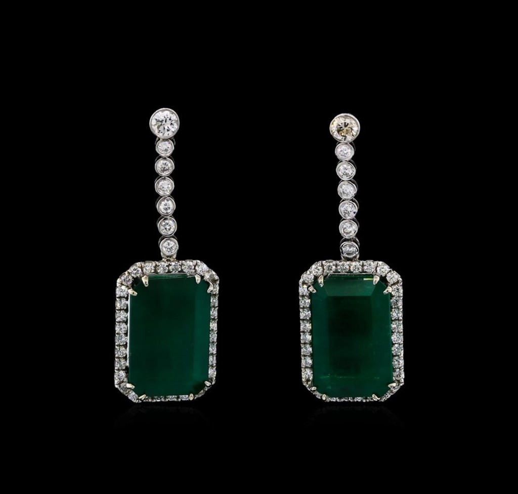 14ct white gold GIA certified 30.46 ctw emerald and diamond earrings