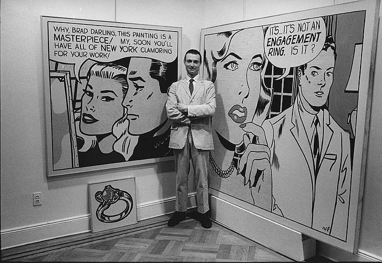 Roy Lichtenstein in der Leo Castelli Gallery in New York City, 1962
