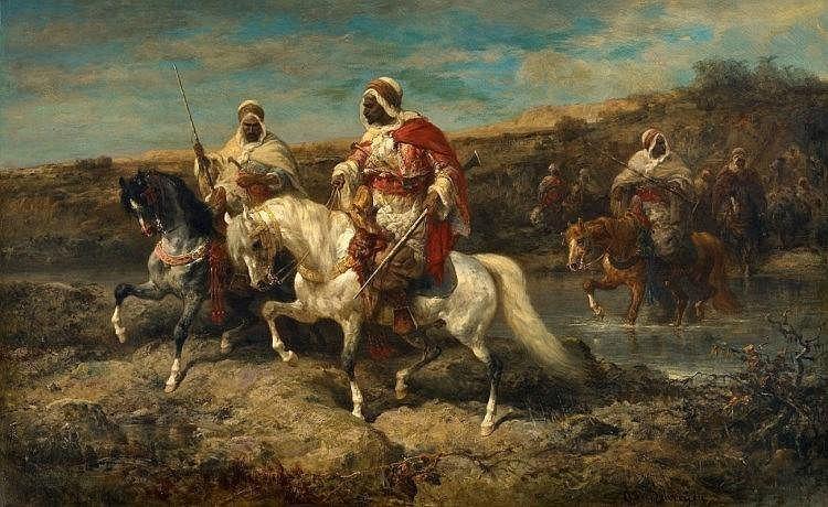 Adolf Schreyer, Arabian Horseman by a Ford
