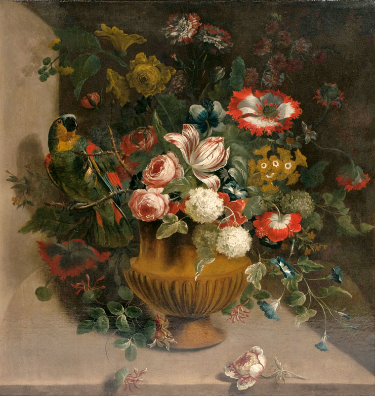 JEAN BAPTISTE MONNOYER (Lille 1936 - London 1699) - Blumenarrangement mit Papagei, Öl/Lwd., 98 x89 cm, signiert und datiert, 1669 Katalogpreis: 12.000 EUR