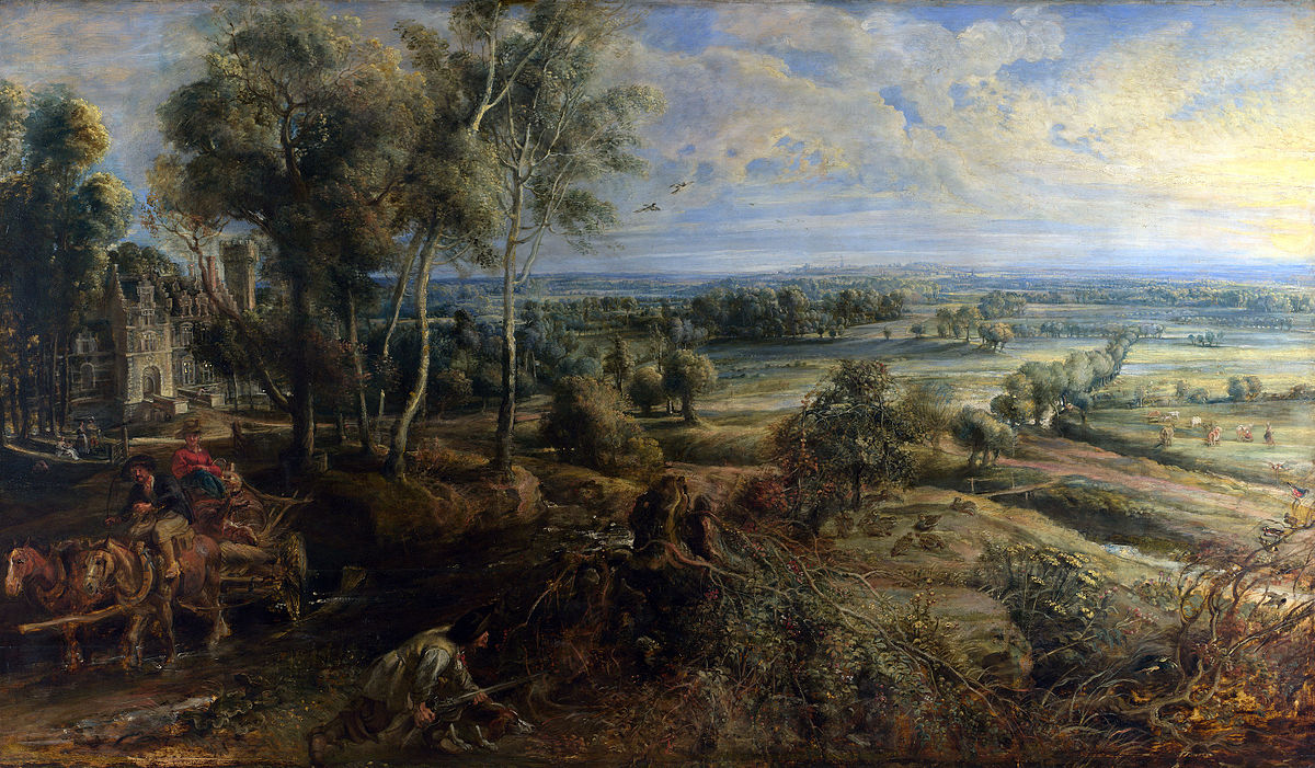"""Pierre Paul Rubens, """"A View of Het Steen in the Early Morning, Château de Steen with Hunter""""  omkring år 1636. Foto via Wikipedia."""