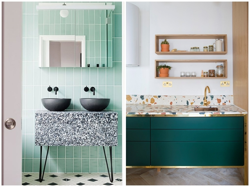 Left: Bathroom furniture in this year's terrazzo trend. Photo via: Hello Magazine.  Right: The kitchen could also benefit from the use of terrazzo. Photo via: Eve Morgan Interiors.