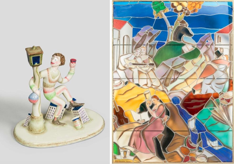 "Left: MARIO STURANI for LENCI - Painted ceramic figure ""Regime secco"", Turin about 1929   Right: FELICE QUENTIN - stained glass window ""Gli Amanti"", Florence circa 1928"