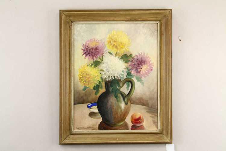 """GÖSTA EMMING """"blommor i kruka"""" opd 48x38 cm. Försäljningen omfattas av droit de suite. Utropspris: 500 SEK. Karlstad Hammarö Auktion."""