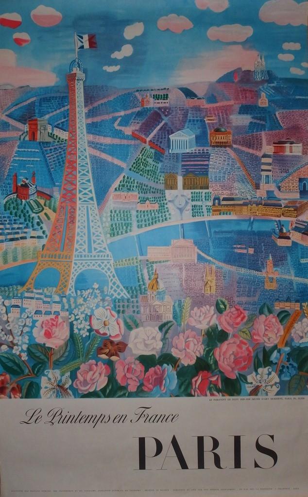 Raoul DUFY Le printemps en France, Paris Affiche originale de 1966, Imprimée en photolithographie PrivateLot.com