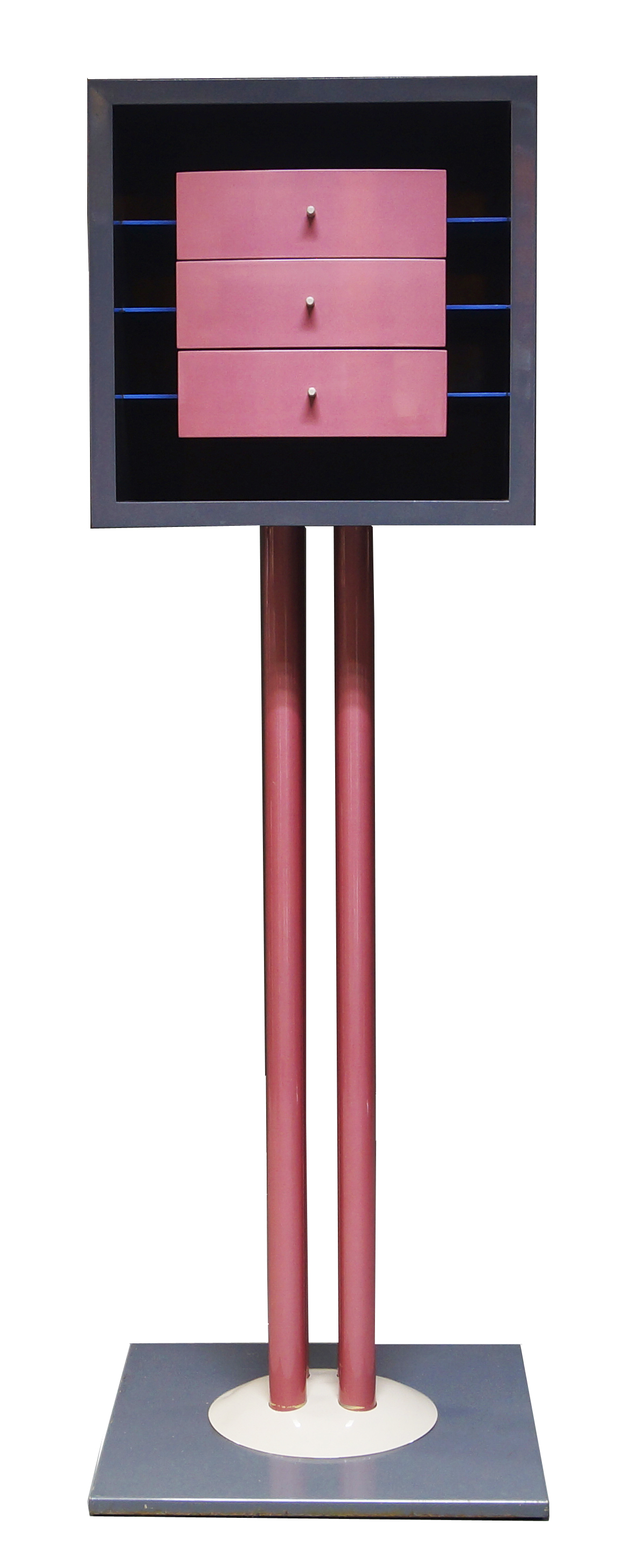 Shiro Kuramata for Memphis Milan, a Nikko cabinet, designed and executed in 1982, lacquered wood and lacquered metal, silver label to reverse, Memphis, Made in Italy, Milano, Shiro Kuramata 1982, no 02 175cm high x 57cm square Estimate: £8 000 – 12 000