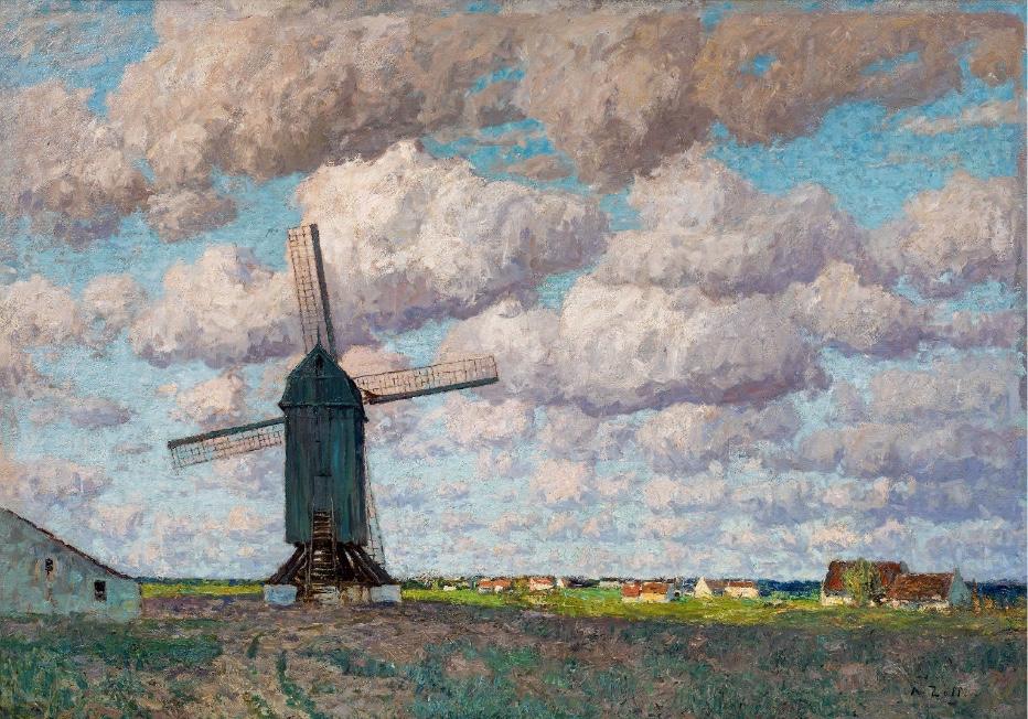 ALFRED ZOFF (Graz 1852-1927 ebenda) - Holländische Landschaft mit Windmühle, Öl/Lwd., 84 × 115 cm, signiert, um 1906 Schätzpreis: 10.000-20.000 EUR