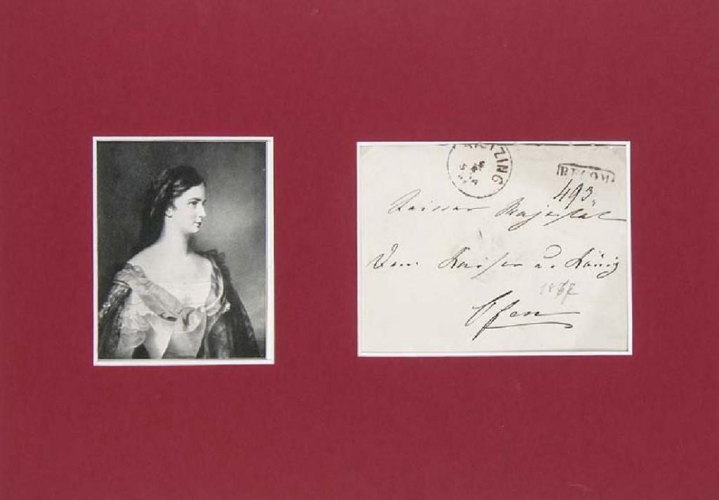 Elisabeth von Österreich - Eigenhändiger Briefumschlag der Kaiserin, Wien-Hietzing, 6. April 1867 Startpreis: 400 EUR