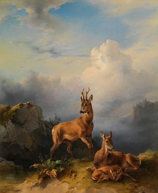 FREIDRICH GAUERMANN (Miesenbach 1807-1862 Wien) - Rehbock mit Geiß und Kitz, Öl/Holz, 55 x 44 cm Schätzpreis: 25.000-50.000 EUR