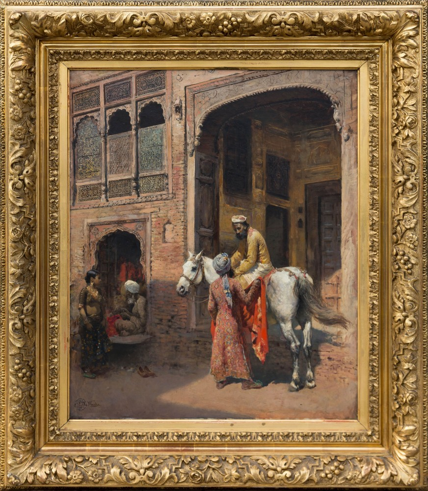 """Outdoor figural oil on canvas rendering by Edwin Lord Weeks (American, 1849-1903), 24 inches by 20 inches in a gold gilt frame and signed """"E. L. Weeks"""" lower left ($82,600)."""