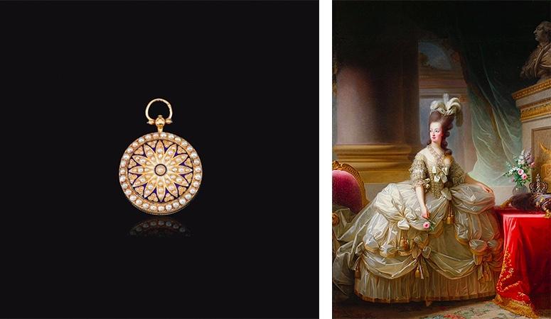 Links: Taschenuhr mit Perlen und Emaille. Erzielte Preis: 250.000 CHF (Foto: ©Sotheby's) Rechts: Elisabeth-Louise Vigée-Lebrun, Staatsportrait Marie Antoinettes mit der französischen Königskrone, 1778 (Wien, Kunsthistorisches Museum)