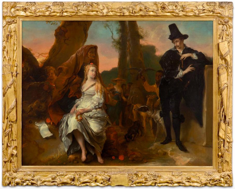 JAN VAN NOORDT. El Encuentro de Preziosa y Don Juan. Escena amorosa (c. 1660). Imagen vía: Koller