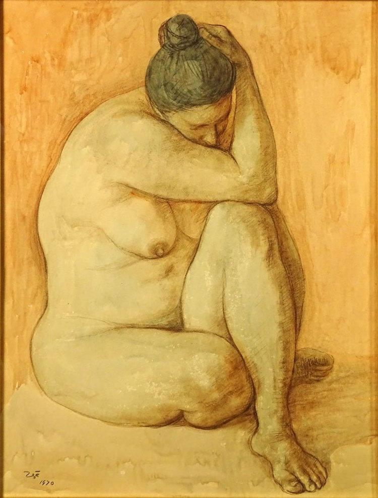 "Francisco Z̼̱iga. ""Seated Nude Woman"". Estimate $4,000 Р$6,000. Photo via Kodner Gallery"