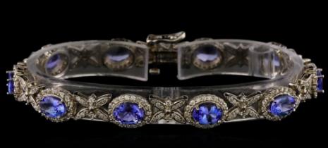 Bracelet tanzanite, diamants et or blanc