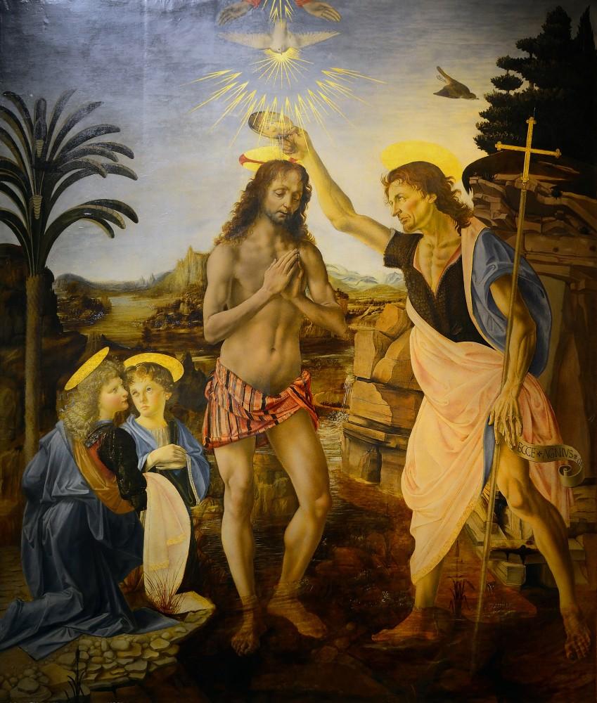 The Baptism of Christ, olja på träpannå. ca 1470-75. Image: barnebys.de
