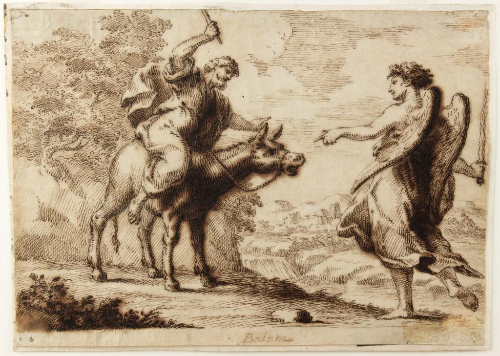 Anonym - Bileam und der Engel, braune Tinte/Papier, 193x271 cm, 17. Jh. Preis: 1.500 EUR