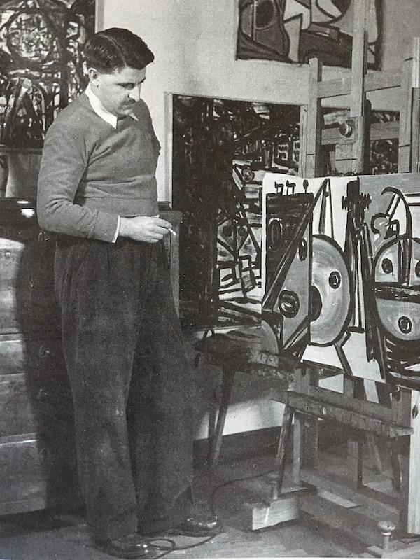 Den målande banktjänstemannen. Olle Baertling framför en av sina målningar
