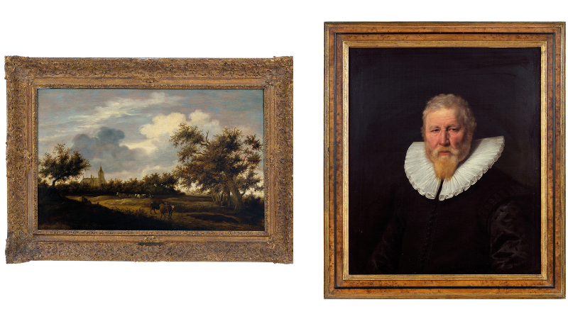 Gauche : Salomon Van Ruysdael, Paysage boisé avec bergers et troupeaux, XVIIe siècle / Droite: Jan Cornelisz Verspronck, Portrait d'un homme âgé, XVIIe siècle, images ©Della Rocca