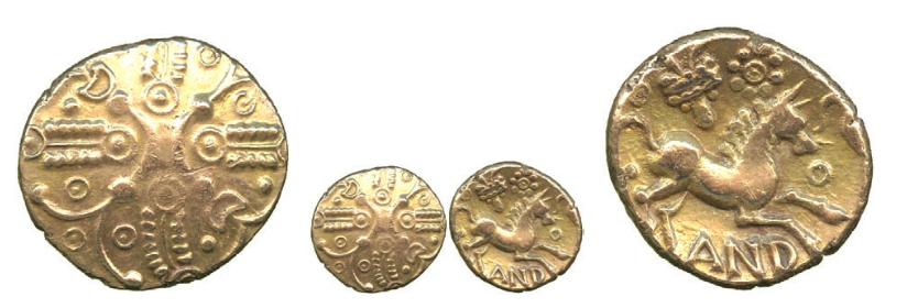 Celtic, Trinovantes and Catuvellauni, Andoco (c.20-1 BC), Gold Stater, 'Bucranium' type, crossed wreaths with pellet in annulet decoration, opposing crescents in centre of wreath, various symbols in quarters, rev horse right with garnished bucranium and sun above, legend around, 5.43g (ABC 2715; VA 1860-1; S.262). A few tiny flan flaws, toned, nearly extremely fine, very rare. £4,750